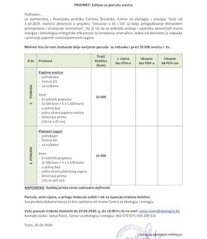 Zahtjev za ponudu printanja vrećica/platnenih cegera