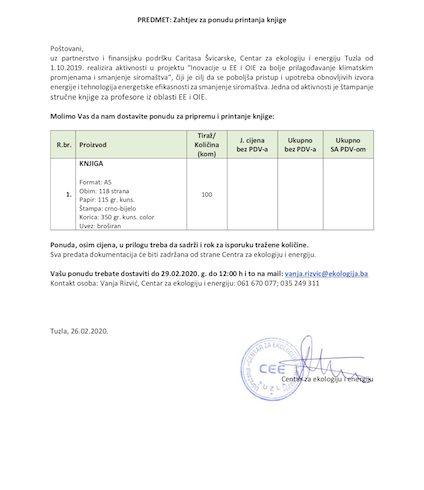 Zahtjev za ponudu štampanje knjige iz oblasti EE i OiE